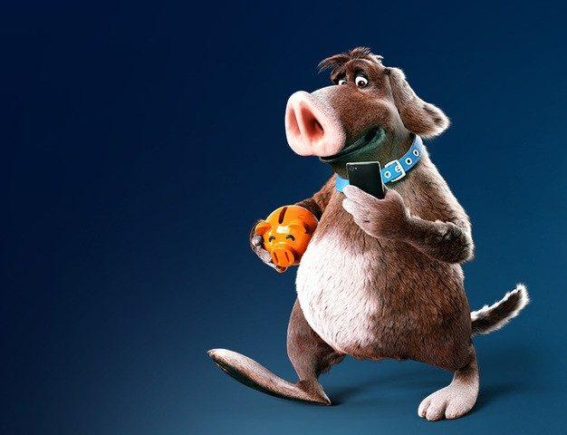 Der Sparschweinehund unterwegs mit Smartphone
